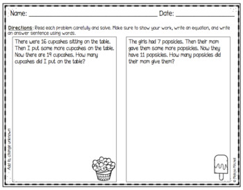Addition and Subtraction word problems first grade