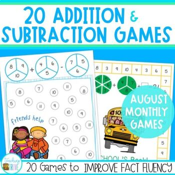 Addition and Subtraction Games - August