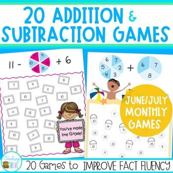 Addition and Subtraction Games for Fact Fluency - June and July