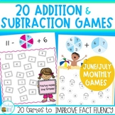 Summer Packet of Addition and Subtraction Games for Fact Fluency