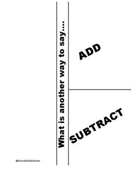 Addition and Subtracton Key Words Interactive Journal