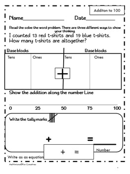 Addition and Subtracton Word Problems to 100 (common core aligned)