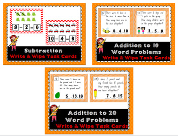Addition and Subttaction Write and Wipe Cards BUNDLE