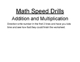 Addition and multiplication Speed Drill