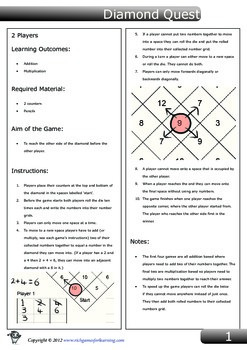 Addition and multiplication game - Diamond Quest