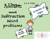 Addition and subtraction word problems, 4 sets of task car