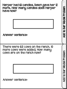 Addition and subtraction bar models