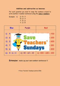 Addition and subtraction fact families worksheets (5 levels of difficulty)