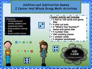Addition and subtraction math centers and activities for k