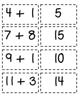 Addition and subtraction memory game