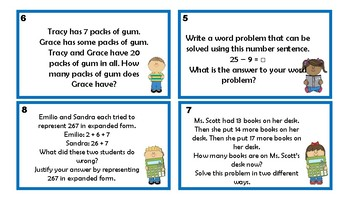 Addition and subtraction problem cards in English and Spanish / sumas y restas
