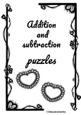 Addition and subtraction puzzles/ up to 100. Valentine's Day.