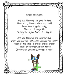 Addition and subtraction sign confusion poem-