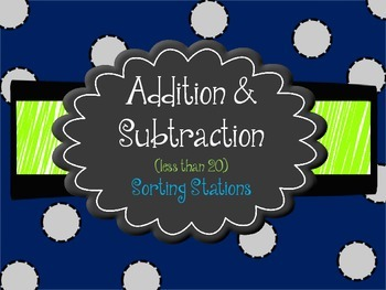 Addition and subtraction sorting stations