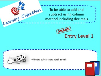 Addition and subtraction using column method