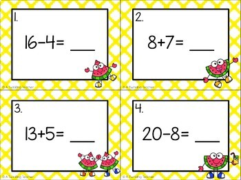 Addition and subtraction watermelon scoot task cards within 20