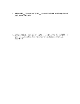 Addition and subtraction word problem template