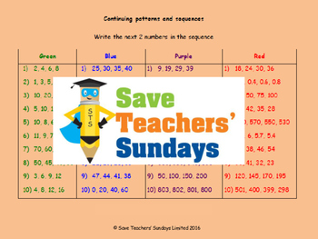 Number sequences lesson plans, worksheets and more
