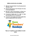Addition and Subtraction Word Problems Worksheets (4 levels of difficulty)