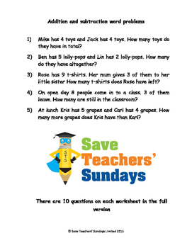 Addition and Subtraction Word Problems Worksheets (4 level