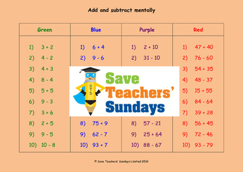 Addition and subtraction worksheets (4 levels of difficulty)