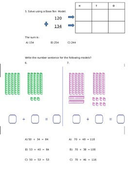 Addition assessment Primary adding with base 10 blocks number line 2nd 1st 3rd