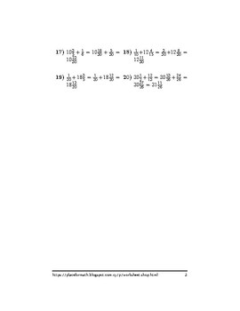 Addition between fractions and mixed numbers