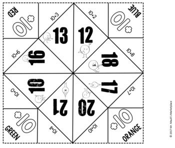Addition by 10's Cootie Catcher/Fortune Teller- Perfect for Fact Fluency