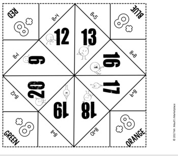 Addition by 8's Cootie Catcher/Fortune Teller- Perfect for Fact Fluency