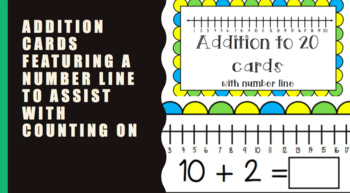 Addition cards to 20 with number line