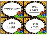 Cartes à tâches - Addition de nombres à 4 chiffres avec retenues