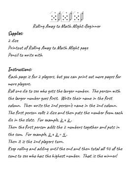 Addition dice game - beginner