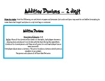 Addition dominos - 2 digit addition