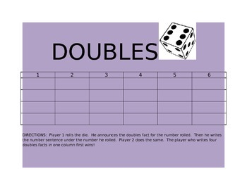 Addition double facts game board