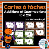 Cartes à tâches:  Additions et soustractions 1 à 20