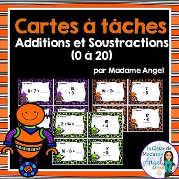 Cartes à tâches:  Additions et soustractions 1 à 20