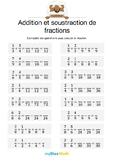 Addition et soustraction de fractions 4 - Compléter les opérations