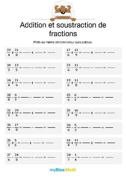 Addition et soustraction de fractions 5 - Compléter les opérations