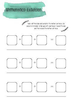 Addition extension task printable
