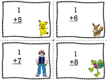 Addition facts flash cards Pokemon style