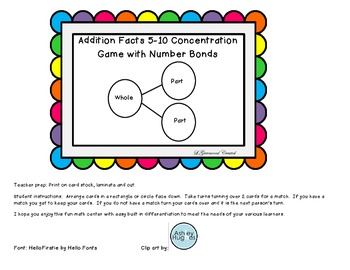 Addition facts to 10 with  number bonds