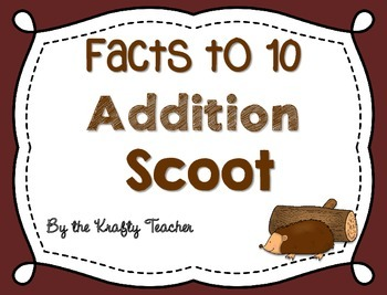 Addition facts to 10 Scoot, Adding, Kindergarten, First, I
