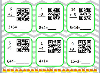 Halloween themed addition facts to 20 QR code activity (Common Core Aligned)