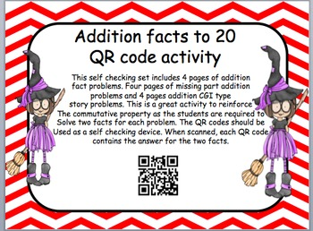 Halloween themed addition facts to 20 QR code activity (Co