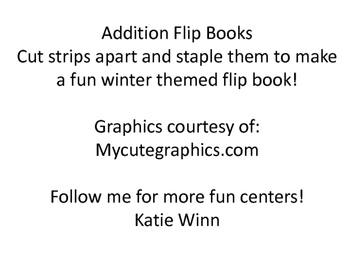 Addition flip books - Winter theme