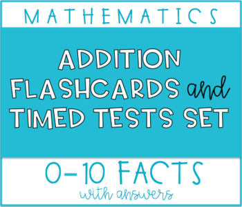Addition fluency flashcards 0-10 with individual fact set tests