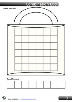 Addition game - Combination Lock