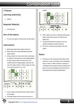 Addition game - Combination Lock