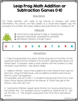 Addition and Subtraction Games for ADHD and Active Learners, 0-20, Math Facts