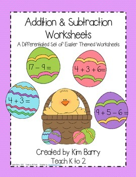 Addition and Subtraction Worksheets - Easter Edition